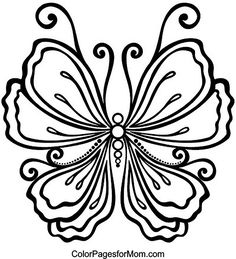 Advanced Coloring Pages for Adults - Butterfly Coloring Page. Butterfly Stencil, Butterfly Drawing, Butterfly Template, Butterfly Fairy, Glass Butterfly, Butterfly Mobile, Flower Template, Spring Coloring Pages, Coloring Book Pages