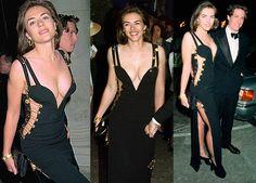 liz hurley w/ Hugh grant   Versace safety pin dress   1994