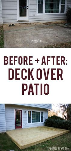 Build a deck right over an old, ugly patio for a beautiful backyard upgrade!: Build a deck right over an old, ugly patio for a beautiful backyard upgrade! Diy Deck, Diy Patio, Backyard Patio, Patio Decks, Deck Landscaping, Backyard Projects, Outdoor Projects, Platform Deck, D House