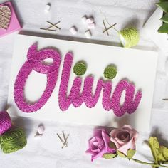 Olivia Unique gift idea Handmade Girls Name Sign String Art Home Decor Personalised Girls Room Decor Christening Birthday gift DeeisforDaisy by DeeisforDaisy on Etsy