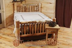 RUSTIC LOG BED - Small Spindles  $299 (complete bed) Ships Free !! #TwistofNature #Rustic