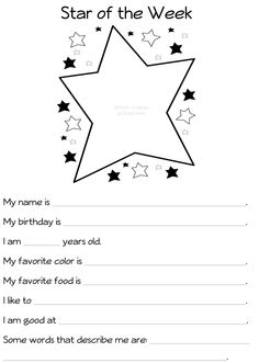 Star Of the Week Poster Printable Awesome River Bliss Star Of the Week Celebrating What S Special Teaching Kindergarten, Preschool Classroom, Teaching Ideas, Classroom Ideas, Classroom Organization, Classroom Management, Classroom Design, Student Information Sheet, All About Me Poster