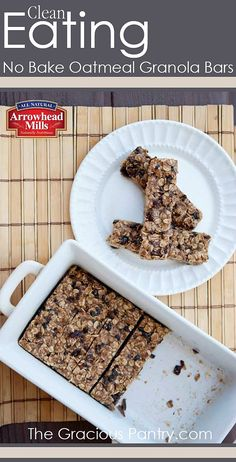No Bake Oatmeal Granola Bars. #CleanEating