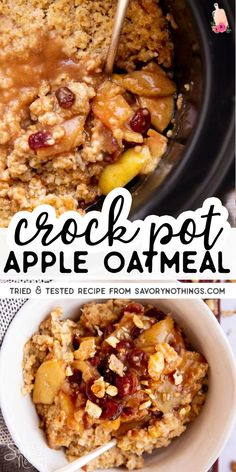 This overnight crock pot oatmeal cooks entirely in the slow cooker on top of a yummy brown sugar apple cinnamon topping. Add raisins and cranberries if you like, and serve with a splash of milk in the morning! | #slowcooker #crockpot #oatmeal #healthyfood #healthybreakfast #slowcookerbreakfast #crockpotbreakfast #breakfastrecipes #easyrecipes #easybreakfast Breakfast Crockpot Recipes, Slow Cooker Breakfast, Slow Cooker Recipes, Cooking Recipes, Apple Crockpot Recipes, Apple Recipes For Kids, Slow Cooker Desserts, Breakfast Healthy, Oatmeal Recipes