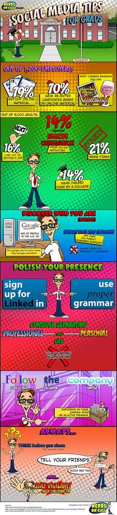 Job Hunting Grads: Social Media Warning (With Infographic) Graduate Recruitment, Graduate Jobs, College Years, College Fun, Social Media Branding, Social Media Tips, Job Hunting Tips, Jobs In Art, Career Development
