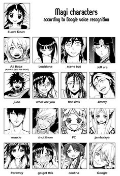 Magi characters according to Google voice recognition. :))))) ...I think it gets Masrur and Kouha right. Why Kouha? I just like him. ^_^