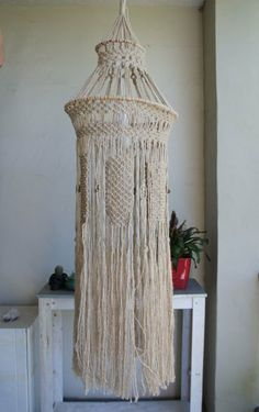 Large Macrame Chandelier Lamp In Natural By Melbasb On Etsy 190 00