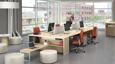 Furniture placement for creative work flow. – Home Office Design Layout Workspace Design, Office Workspace, Office Table, Office Spaces, Office Seating, Corporate Office Design, Home Office Design, Office Designs, Commercial Design