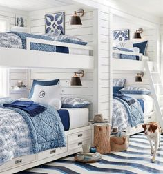 Built-in bunks, drawers under, small shelf on inside wall for drink/book, painted wood floors - Avalon Indoor/Outdoor Sconce Bunk Bed Rooms, Bunk Beds Built In, Twin Beds, Home Bedroom, Bedroom Decor, Kids Bedroom, Bedroom Ideas, Guy Bedroom, Bedroom Lighting