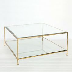 Worlds Away Quadro Gold Coffee Table. H 46cm x W94 cm x D 94 cm