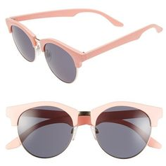A.J. Morgan 'Tippy' 50mm Sunglasses ($24) ❤ liked on Polyvore featuring accessories, eyewear, sunglasses, pink, a.j. morgan, uv protection sunglasses, a.j. morgan sunglasses, pink round glasses and retro glasses