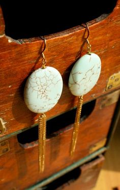 Gorgeous howlite tassel earrings by bluebegonia on Etsy, $45.00