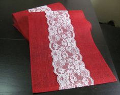 Red and white lace tablerunner