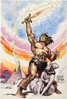 Ernie Chan - Conan Watercolor Illustration Original Art (1982).... | Lot #12024…