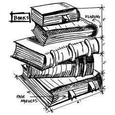 Tim Holtz Wood Mounted Stamp - Books Sketch V1-2625