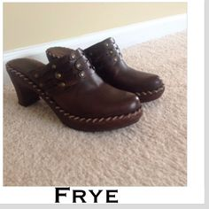 Frye clogs Frye boots braided clogs. Size 8.5 all leather. Good used condition. Normal wear and scuffing around edges Frye Shoes Mules & Clogs
