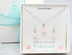 Rose Quartz,Pink Bridesmaid Jewelry set,pink Earrings and Necklace Set,Bridesmaid gift,Drop, Dangle,gemstone jewelry set,silver jewelry set by DIANPEARL on Etsy