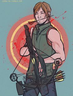 I finally got hooked up on The Walking Dead and guess who my favorite character is (I'm very unoriginal I know) Also, what are crossbows on tumblr I'm still in the beginning of season 3 so no...