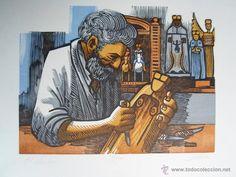 Jose R.ALICEA (Puerto Rico 1928) xilografia madera imbuia 1988 firmada y 28/250 Santero (Arte - Xilografía)