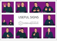 """darael: """"coille-dithean: """"More hearing people should learn some sign language so here are some actually useful signs for us hearing people to learn. """" Learning to sign is something I really want to. Sign Language For Kids, Sign Language Phrases, Sign Language Alphabet, Sign Language Interpreter, British Sign Language, Learn Sign Language, Language Dictionary, Body Language, Learn Bsl"""