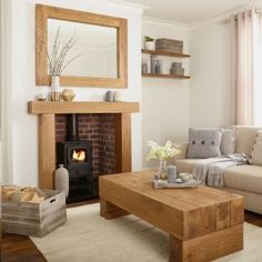 Oak Beam Fire Surround With Solid Rustic Character - Banbury Cottage Living Rooms, Cottage Interiors, Living Room Grey, Home Living Room, Living Room Designs, Log Burner Living Room, Living Room With Fireplace, Oak Fire Surround, French Country Living Room