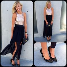 Maxi dress with a sequin top and chiffon bottom