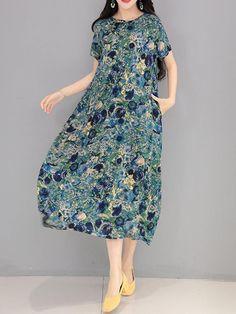 Women Floral Printed Short Sleeve Vintage Long Maxi Dresses