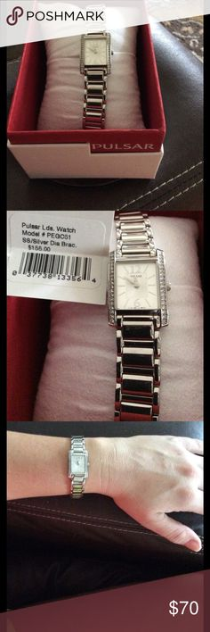 NET Pulsar Women's Stainless Steel Watch 🎖NWT 💥Pulsar Women's Stainless Steel Watch.  No scratches, scuffs or damage. Purchased and tried on. Been in the box. Battery works as watch is brand new. I put the watch next to a 9 Volt battery to show size. It's dainty and beautiful! Great Mother's Day gift... 🚫Trades  🚫Low Balling  IF YOU HAVE ANY QUESTIONS- ASK BEFORE PURCHASE‼️ Thanks for shopping my closet!😊 PULSAR Accessories Watches