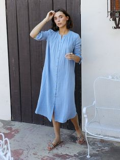 Shop Mille - Jasmine Dress in Riviera Double Gauze Only Clothing, Luxury Clothing, Camilla Dress, Flowy Summer Dresses, Jasmine Dress, Gauze Dress, Get Dressed, Cotton Dresses, Shirt Dress