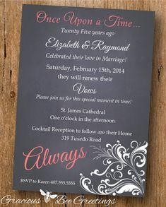 Fairy tale wedding invitation cards pinterest storms fairy vow renewal invitation always classy modern anniversary 10th 20th 25th 30th 40th 50th chalkboard invite digital printable w1425 stopboris Choice Image