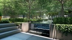 Tribeca Townhouse Living   Courtyard - The Sterling Mason. The private courtyard garden by acclaimed landscape designer Deborah Nevins & Associates features a reflecting pool on axis with the entrance, amidst a grove of Hawthorn trees.