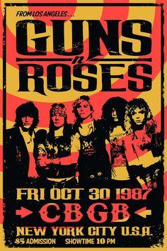 Concert Poster Prints, Guns n Roses, CBGB, New York NY, October 30th 1987