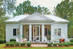 Choose Materials that Build Character - Our New Favorite 800-Square-Foot Cottage That You Can Have Too - Southernliving. Ingram says an important element in achieving this historic look was the use of antique brick for the home's front walkway, foundation piers, and back patio, which masons laid in an imperfect pattern for added character. A metal roof nods to the rural architecture of the area, but smooth shiplap in the gable gives a dressier contrast to the rest of the exterior's layered…