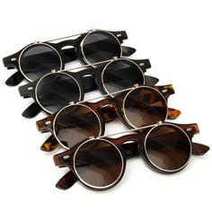 Homens, mulheres, unisex do vintage lentes redondas steampunk óculos de sol óculos cibernéticos Vidros retros