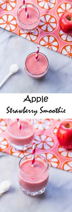 Healthy Smoothie Recipes - Apple Strawberry Smoothie - Super Healthy And Super Fast - The Best Healthy Smoothie Recipes Fruit Smoothie Recipes, Apple Smoothies, Good Smoothies, Healthy Breakfast Smoothies, Strawberry Smoothie, Superfood Smoothies, Green Smoothies, Eat Breakfast, Strawberry Breakfast