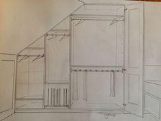 Ideas for loft bedroom storage layout Attic Bedroom Storage, Attic Master Bedroom, Attic Rooms, Closet Bedroom, Loft Conversion Wardrobes, Loft Conversion Bedroom, Eaves Storage, Loft Storage, Fitted Bedroom Furniture