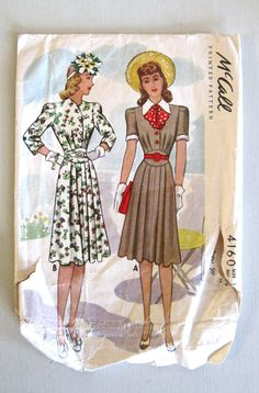 McCall 4160 1940s Dress Pattern Bust 34 Detachable by QuiltCitySue, $35.00
