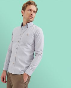 798391da153b Ted Baker Cotton shirt Light Grey Grey Shirt