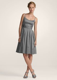$59.99. David's Bridal - sangria.  http://www.davidsbridal.com/Product_Short-Cotton-Sateen-Spaghetti-Strap-Dress-F14138_Bridal-Party-Bridesmaids-All-Bridesmaid-Dresses