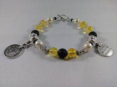 Citrine and Lava Stone Diffuser Bracelet, Gemstone Beaded Charm Bracelet, Made to Order by PurpleMoonJewelryCA on Etsy