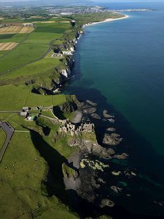 Dunluce Castle and Antrim coast in Northern Ireland.