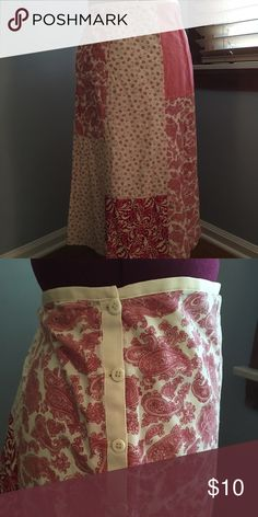 Anthropologie patchwork/Boho skirt size 14/16 Very cute, calf length skirt. Red and cream patchwork design. Works great with boots and a cozy sweater. Gently used but great condition. Side button closure. Just right for fall! Anthropologie Skirts Maxi