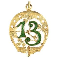 Antique Enameled Gold Lucky Charm Horse Shoe 13 Winged Wheel and Clover, Three Leaf Clover, Gold Locket, Lucky Charm, Antique Jewelry, Jewelry Collection, Fine Jewelry, Gold Jewelry, Antiques, Pendant