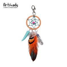 Artilady natural feather dreamcatcher keyring vintage silver boho jewelry turquoise keychain for women 2016 spring