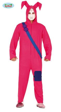 Bunny Gaming Costume Large inlcudes pink jumpsuit with attached hood, blue belt and matching knee pad. Superhero Fancy Dress, Bunny Suit, Pink Jumpsuit, Wetsuit, Costumes, Zip, Suits, Long Sleeve, Swimwear