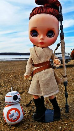 One of a kind, customized Blythe Star Wars Rey doll.