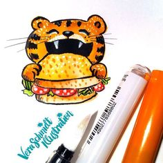 Day 45 of #365doodleswithjohannafritz: Sandwich. I just got my new Tombow art pens today together with a water pen and a white pen and I had to try it out! Really cool stuff... So that's why there is some more colour today.  #sandwich #tiger #illustratorsofinstagram #instagallive #doodle #sketchbook by veraschmidtillustration