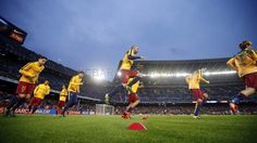 The other side of Barça v Eibar. Players warm up before game | FC Barcelona