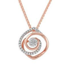 "White and Rose Gold Diamond Pendant (18""):"