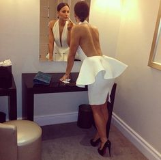 DRESS: http://www.glamzelle.com/collections/whats-glam-new-arrivals/products/haute-minx-white-peplum-backless-bandage-dress